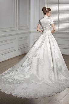 Vestido de novia Cintura Baja Cordón Con Chaqueta Satén primavera Manga corta