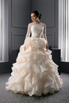Vestido de novia Corte princesa Moderno Joya Organza Invierno Cordón