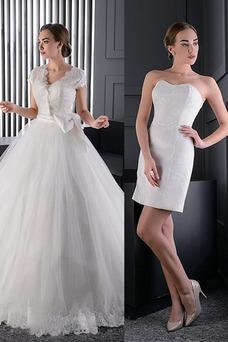Vestido de novia Clasicos Manga corta Lazos largo Cremallera Escote en V