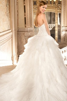Vestido de novia Cremallera Sin mangas Escote Corazón Cristal Natural