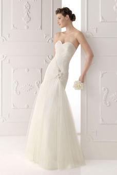 Vestido de novia Corte Sirena Natural largo Escote Corazón Sin mangas