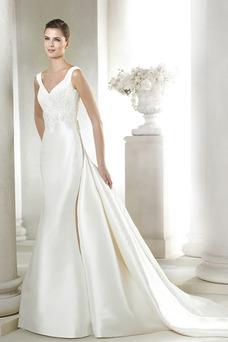 Vestido de novia largo Sin mangas Moderno Natural Espalda medio descubierto