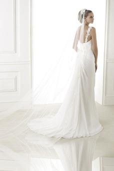 Vestido de novia Sencillo Natural Sin mangas Gasa Un sólo hombro Cremallera