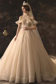 Vestido de novia Otoño Drapeado Escote con Hombros caídos Cola Real