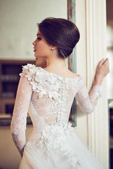 Vestido de novia Corte princesa Manga larga Cremallera primavera Barco
