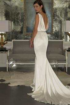 Vestido de novia Natural Otoño largo Cuello vuelto Volantes Adorno Espalda medio descubierto