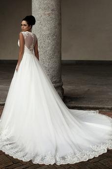 Vestido de novia Natural Otoño Cremallera Encaje Corte-A Sin mangas