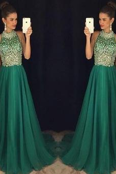 Vestido de noche Verano Corte-A Joya Abalorio Espalda medio descubierto