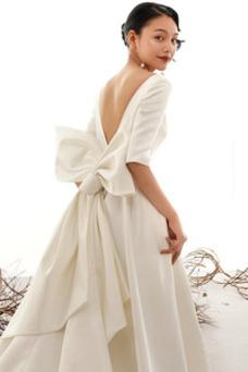 Vestido de novia Camiseta Natural Corte-A Lazos Escote con Hombros caídos