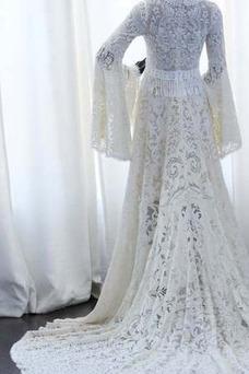 Vestido de novia Elegante Manga suelta Cremallera Drapeado Imperio Otoño