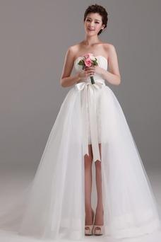 Vestido de novia Satén Natural Asimètrico Otoño Cola Panel Falta