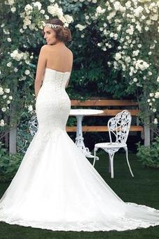Vestido de novia Corte Sirena Drapeado Fuera de casa Falta Moderno Capa de encaje