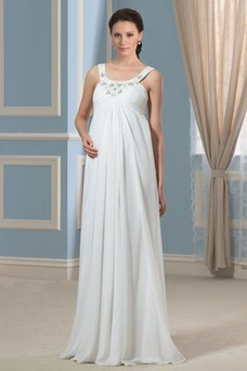 Vestido de novia Alto cubierto Hasta el suelo Moderno Imperio Cintura