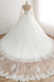 Vestido de novia Cola Corte Espalda con ojo de cerradura Corte-A tul
