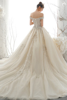 Vestido de novia Manga de Dolman Escote con Hombros caídos Encaje Natural