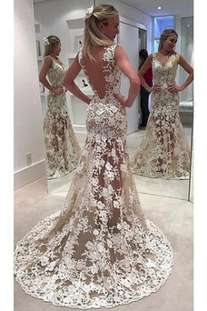 Vestido de novia Corte Sirena Transparente Escote en V Falta Pura espalda