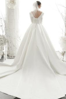Vestido de novia vendimia Escote Cuadrado Drapeado Triángulo Invertido