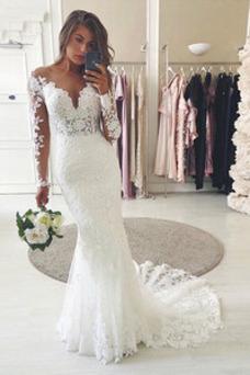 Vestido de novia Corte Sirena Cremallera Otoño Natural Fuera de casa