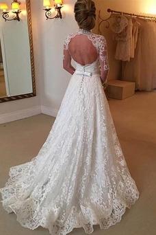 Vestido de novia Clasicos Escote con cuello Alto Falta Botón Encaje