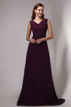 Vestido de dama de honor Blusa plisada Gasa Corte-A Espalda medio descubierto