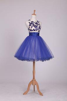 Vestido de cóctel Elegante Pura espalda Bordado Hasta la Rodilla Joya