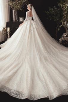 Vestido de novia Cordón Apliques Encaje Cola Real primavera Camiseta