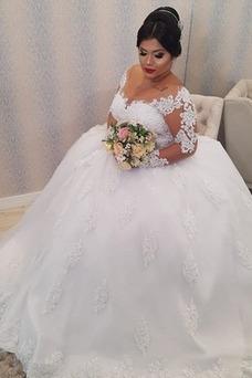 Vestido de novia Invierno Baja escote en V Corte-A Elegante Abalorio