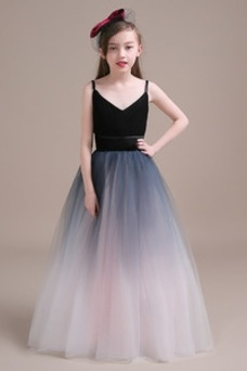 Vestido niña ceremonia Corte-A Cremallera Blusa plisada Natural Sin mangas