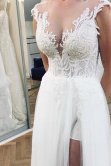 Vestido de novia Falta Baja escote en V Hasta el suelo Sin mangas Apertura Frontal