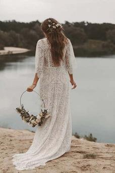 Vestido de novia Manga suelta Encaje Encaje Fuera de casa Cremallera
