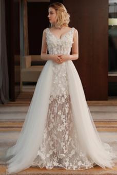 Vestido de novia Encaje Cordón Corte-A Escote en V Verano Falta