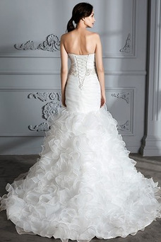 Vestido de novia Cordón Cinturón de cuentas Sin mangas Escote Corazón