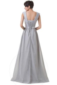 Vestido de noche Capa de encaje Escote Cuadrado Verano Corte-A Encaje
