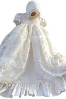 Vestido de Bautizo Encaje Alto cubierto Corte princesa Manga corta Manga Globa