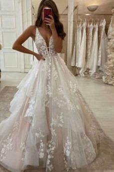 Vestido de novia Apliques tul Escote en V Iglesia Hasta el suelo Espalda Descubierta