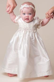 Vestido de Bautizo Joya Hasta el suelo Satén Alto cubierto Corte princesa
