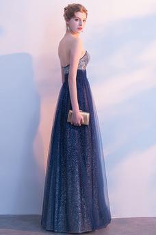 Vestido de noche Sin tirantes Espalda Descubierta Estrellado Con lentejuelas