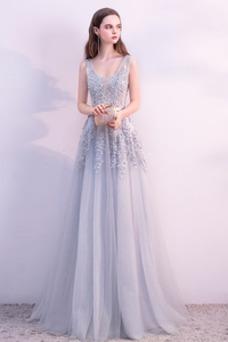 Vestido de noche primavera Corte-A Falta Sin mangas Apliques tul