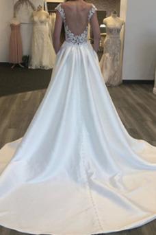 Vestido de novia Espalda Descubierta Sin mangas Corte-A Capa de encaje