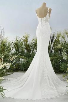 Vestido de novia Encaje Cremallera Capa de encaje Sala Sin mangas Natural