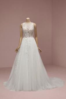 Vestido de novia Triángulo Invertido Pura espalda Capa Multi Abalorio