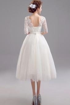 Vestido de novia Elegante primavera Drapeado Corte-A Hasta la Tibia