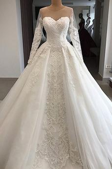 Vestido de novia Manga larga Corte-A largo Espectaculares Otoño Fuera de casa