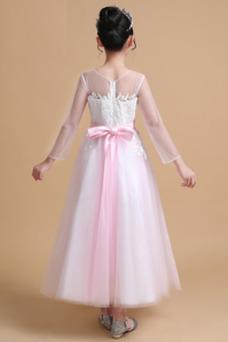 Vestido niña ceremonia Elegante Falta Corte-A Hasta el Tobillo Natural Mangas Illusion