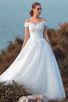 Vestido de novia largo tul primavera Bola Cordón Escote con Hombros caídos
