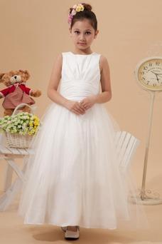Vestido niña ceremonia Hasta el Tobillo tul Natural Otoño Falta Fajas