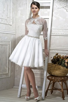 Vestido de novia Clasicos Natural Verano Manga de longitud 3/4 Playa