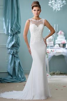 Vestido de novia Corte Sirena Cremallera Sin mangas Natural Barco Modesto