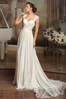 Vestido de novia Playa Queen Anne Manga tapada Corte-A Espalda con ojo de cerradura