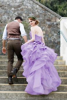 Vestido de novia Asimétrico Dobladillo Romántico Corte-A Escalonado